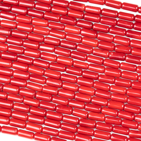 Red Bamboo Coral 4x8mm Tube Beads - 8 inch strand