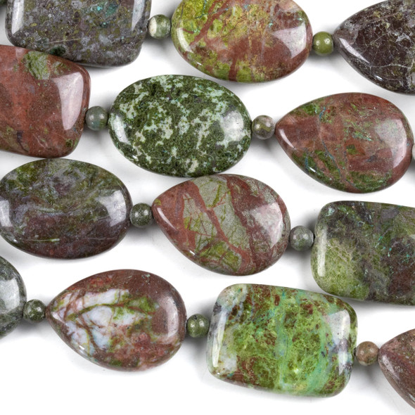 Copper Ore Jasper 18x25mm Oval, Rectangle, and Teardrop Beads alternating with 4mm Rounds - approx. 8 inch strand