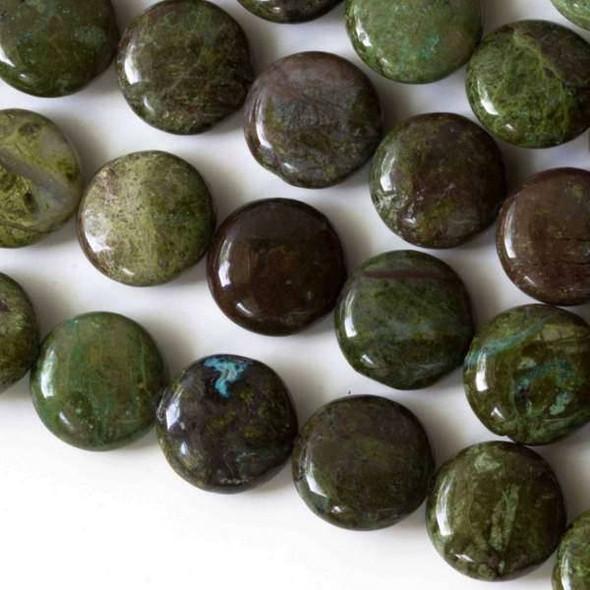 Copper Ore Jasper/Cuprite14mm Puff Coin Beads - 8 inch strand