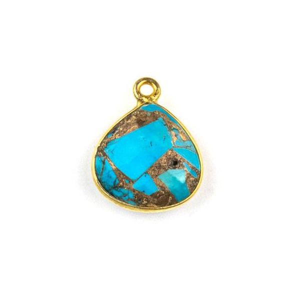 Copper Turquoise approximately 13x16mm Almond Drop with a Gold Plated Brass Bezel - 1 per bag