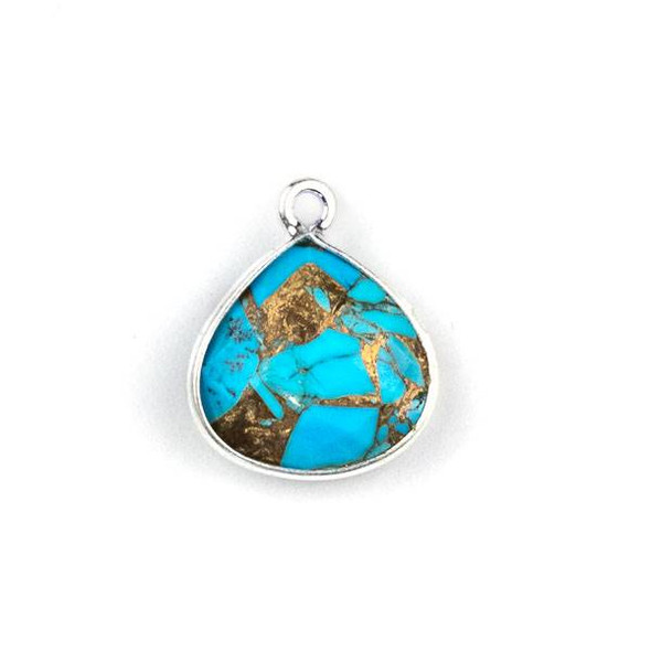 Copper Turquoise approximately 13x16mm Almond Drop with a Silver Plated Brass Bezel - 1 per bag