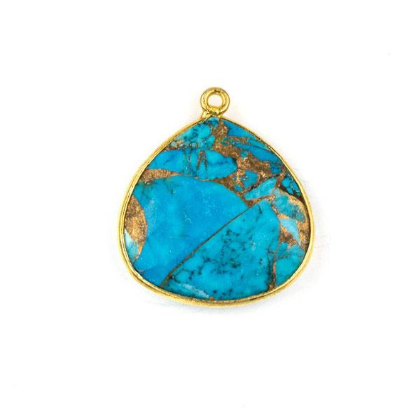 Copper Turquoise approximately 21x24mm Almond Drop with a Gold Plated Brass Bezel - 1 per bag