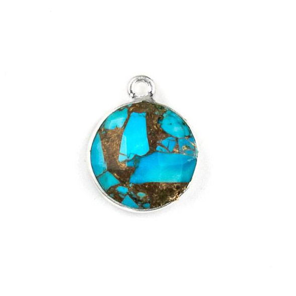 Copper Turquoise 13x16mm Coin Drop with a Silver Plated Brass Bezel - 1 per bag