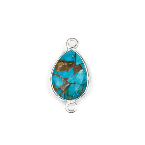 Copper Turquoise approximately 11x22mm Teardrop Link with a Silver Plated Brass Bezel - 1 per bag
