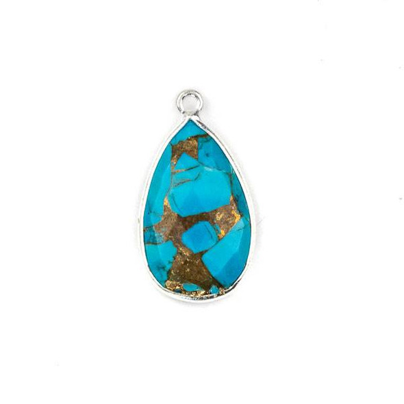 Copper Turquoise approximately 13x24mm Teardrop Drop with a Silver Plated Brass Bezel - 1 per bag