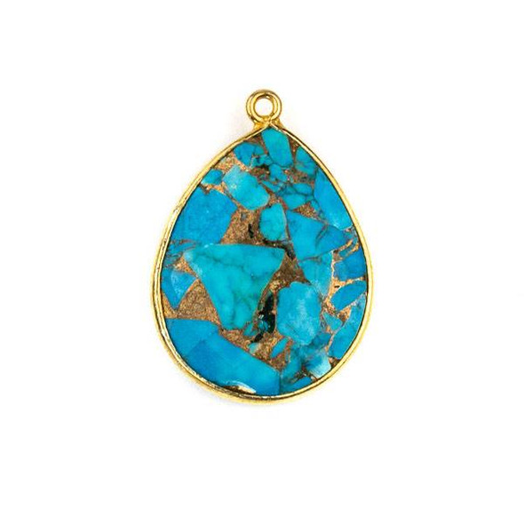 Copper Turquoise approximately 19x27mm Teardrop Drop with a Gold Plated Brass Bezel - 1 per bag