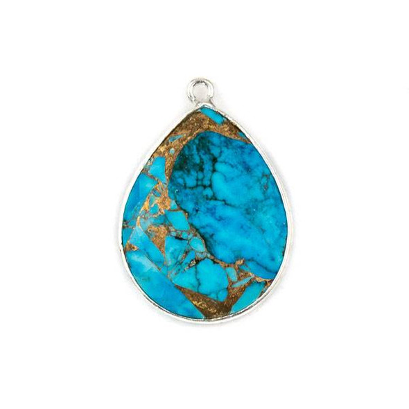 Copper Turquoise approximately 19x27mm Teardrop Drop with a Silver Plated Brass Bezel - 1 per bag