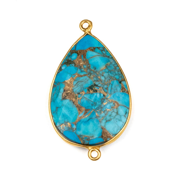 Copper Turquoise approximately 22x38mm Teardrop Link with a Gold Plated Brass Bezel - 1 per bag
