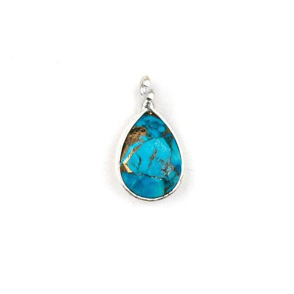 Copper Turquoise approximately 8x14mm Teardrop Drop with a Silver Plated Brass Bezel - 1 per bag