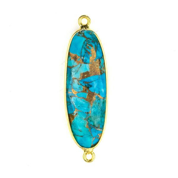 Copper Turquoise 11x38mm Oval Link with a Gold Plated Brass Bezel - 1 per bag