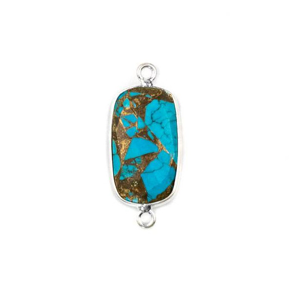 Copper Turquoise 11x25mm Rectangle Link with a Silver Plated Brass Bezel - 1 per bag