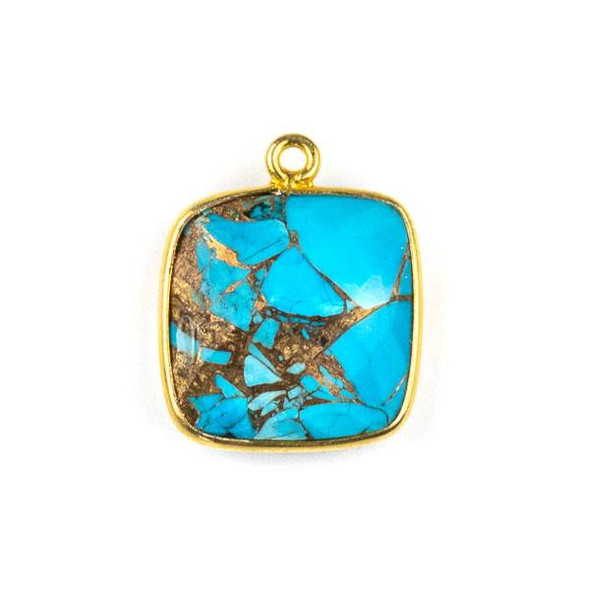 Copper Turquoise 15x16mm Square Drop with a Gold Plated Brass Bezel - 1 per bag