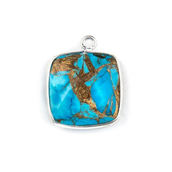 Copper Turquoise 15x16mm Square Drop with a Silver Plated Brass Bezel - 1 per bag