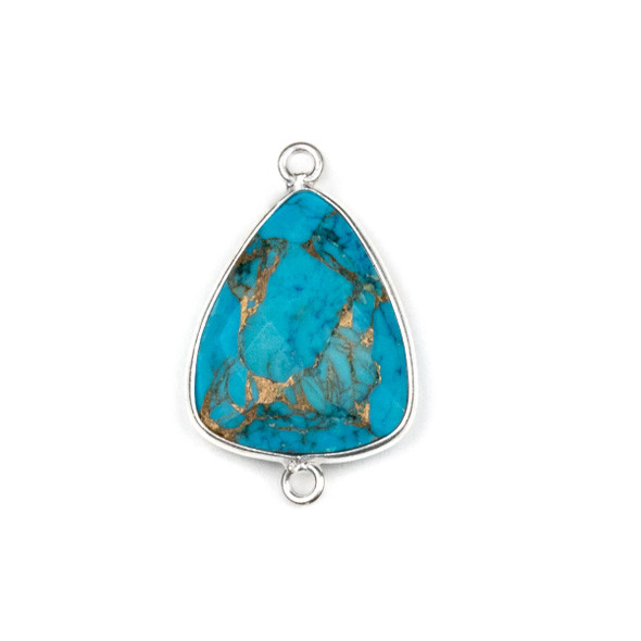 Copper Turquoise approximately 17x28mm Triangle Link with a Silver Plated Brass Bezel - 1 per bag