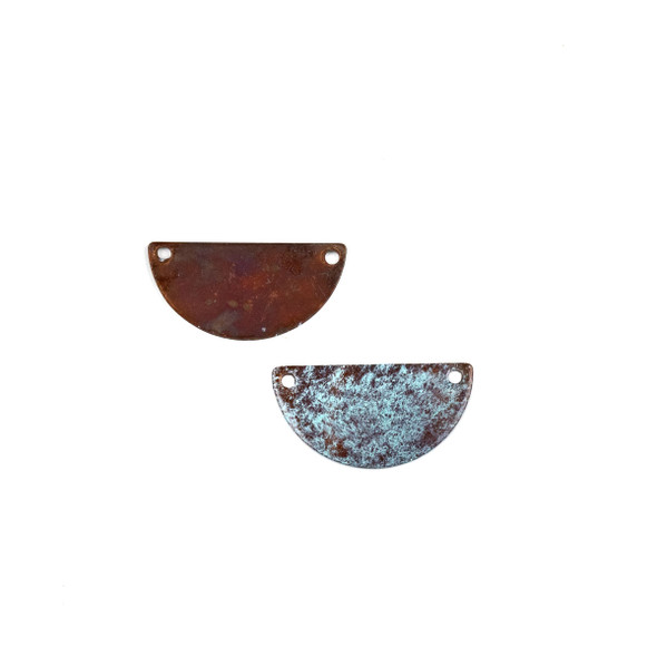 Copper Component Small 13x25mm Textured Half Moon Link with Brush Stroked Green Patina and Two Holes, 2 per bag - #CPCM001