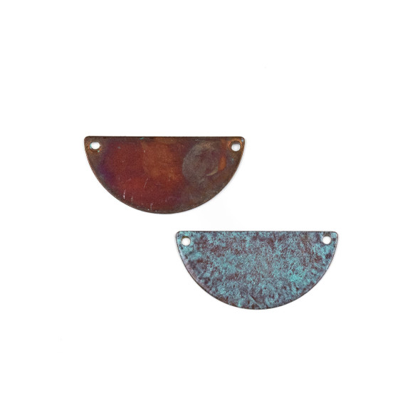 Copper Component Medium 16x32mm Textured Half Moon Link with Brush Stroked Green Patina and Two Holes, 2 per bag - #CPCM003