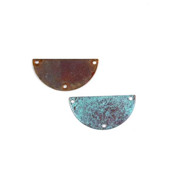 Copper Component Medium 16x32mm Textured Half Moon Link with Brush Stroked Green Patina and Three Holes, 2 per bag - #CPCM004