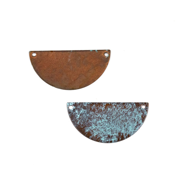 Copper Component Large 19x38mm Textured Half Moon Link with Brush Stroked Green Patina and Two Holes, 2 per bag - #CPCM005