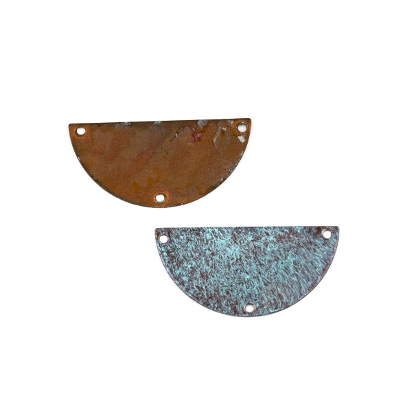 Copper Component Large 19x38mm Textured Half Moon Link with Brush Stroked Green Patina and Three Holes, 2 per bag - #CPCM006