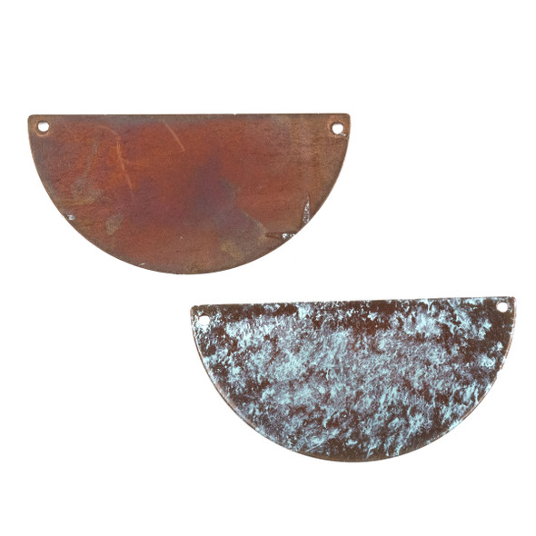 Copper Component Extra Large 26x50mm Textured Half Moon Link with Brush Stroked Green Patina and Two Holes, 2 per bag - #CPCM007