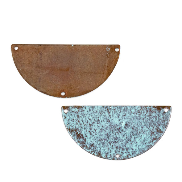 Copper Component Extra Large 26x50mm Textured Half Moon Link with Brush Stroked Green Patina and Three Holes, 2 per bag - #CPCM008