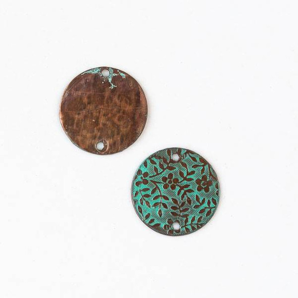 Copper Component 20mm Green Patina Coin Link with Stamped Flower and Vine Pattern