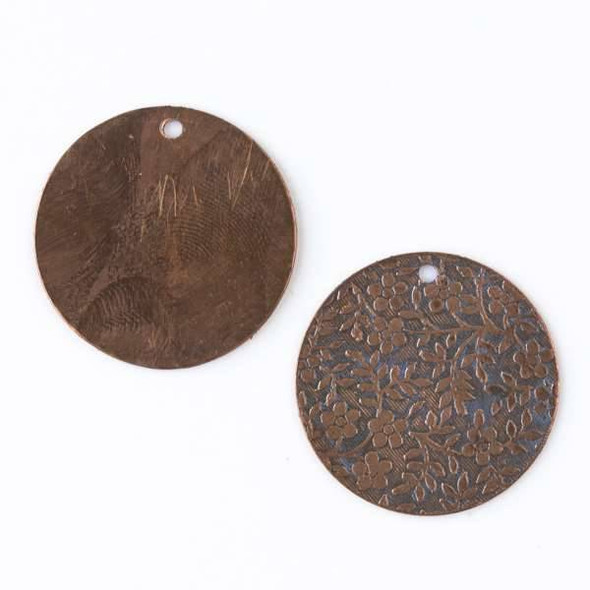 Copper Component - 25mm Lavender Patina Coin Drop with Stamped Flower and Vine Pattern