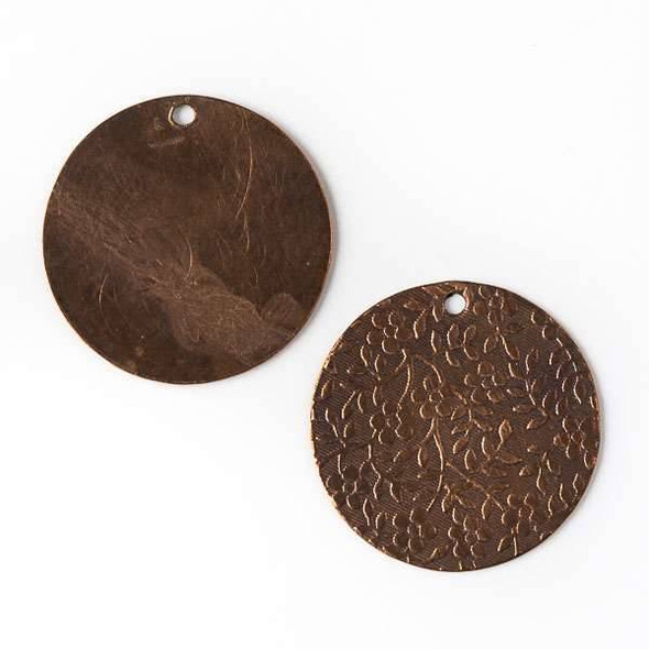 Copper Component - 25mm Coin Drop with Stamped Flower and Vine Pattern