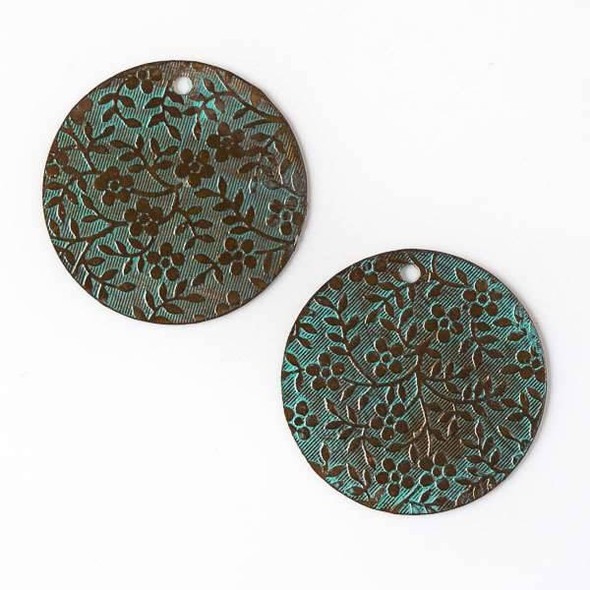 Copper Component - 25mm Green Patina Coin Drop with Stamped Flower and Vine Pattern