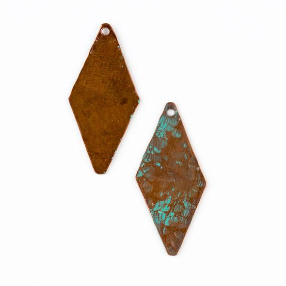 Copper Component 17x37mm Hammered Long Diamond Drop with Brush Stroked Green Patina