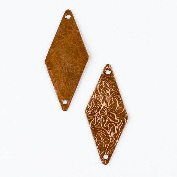 Copper Component 17x40mm Long Diamond Link with a Stamped Flower Pattern