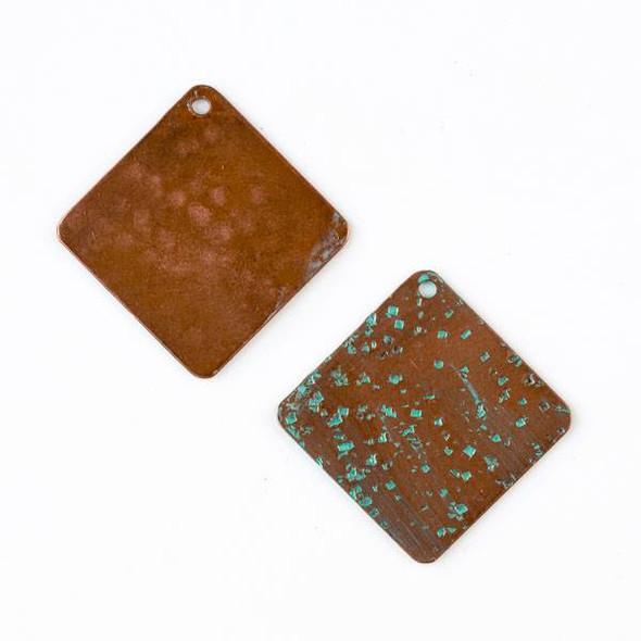 Copper Component 24mm Hammered Green Patina Short Diamond Drop