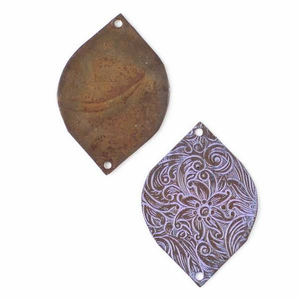 Copper Component - 27x34mm Lavender Patina Marquis Link with Stamped Flower Pattern