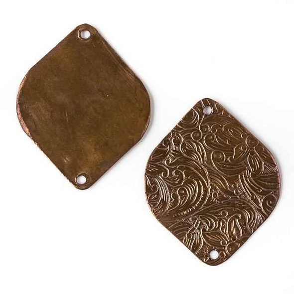 Copper Component - 27x34mm Marquis Link with Stamped Flower Pattern