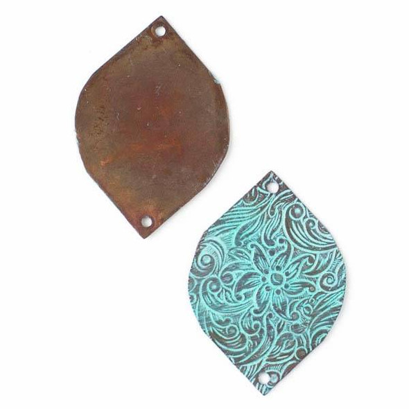 Copper Component - 27x34mm Green Patina Marquis Link with Stamped Flower Pattern