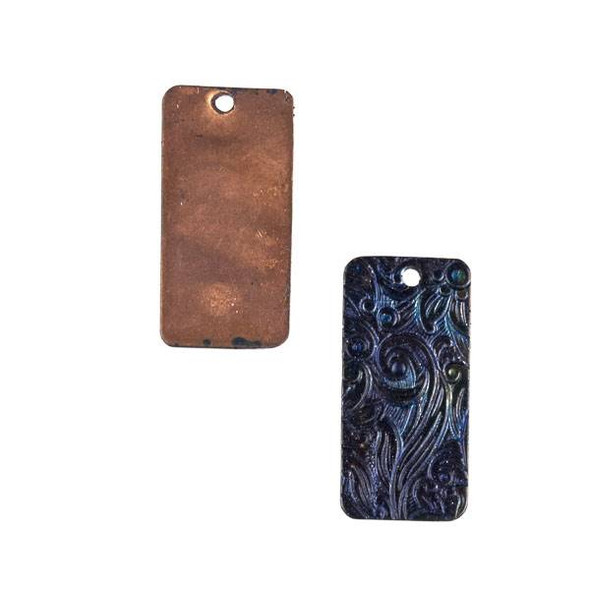 Copper Component - 13x26mm Navy Blue Patina Rectangle Drop with Stamped Flower Pattern