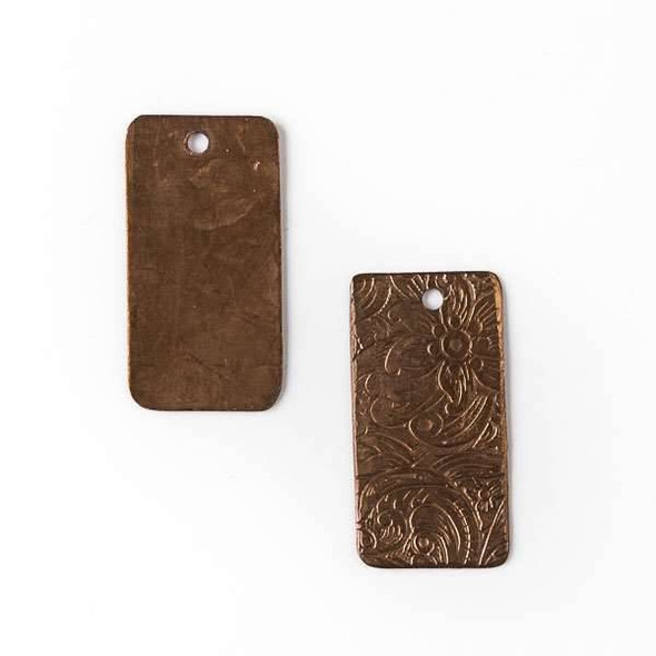 Copper Component - 13x26mm Rectangle Drop with Stamped Flower Pattern