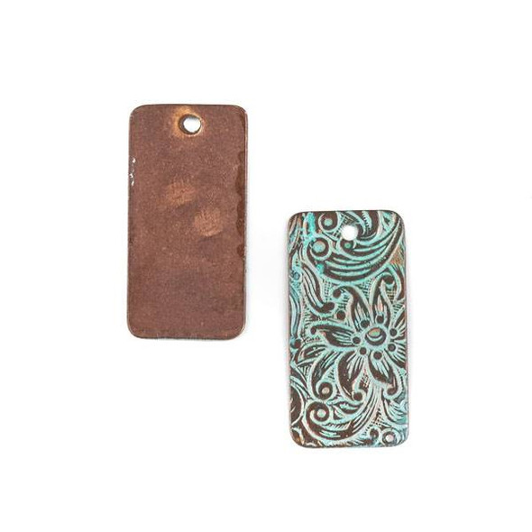 Copper Component - 13x26mm Green Patina Rectangle Drop with Stamped Flower Pattern