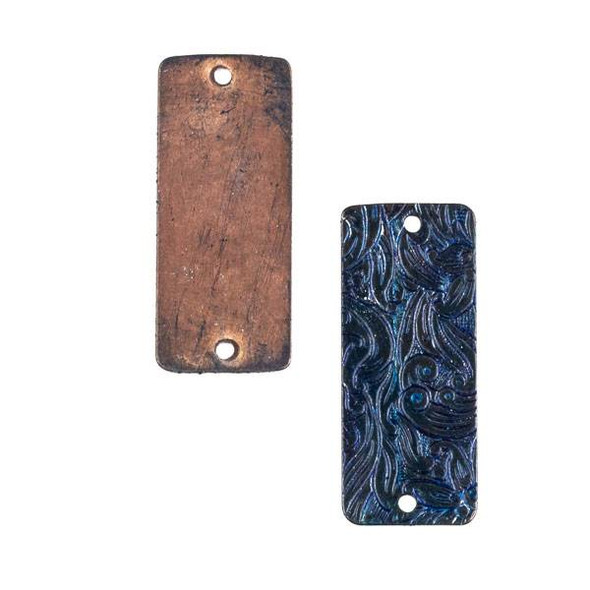 Copper Component - 13x32mm Navy Blue Patina Rectangle Link with Stamped Flower Pattern
