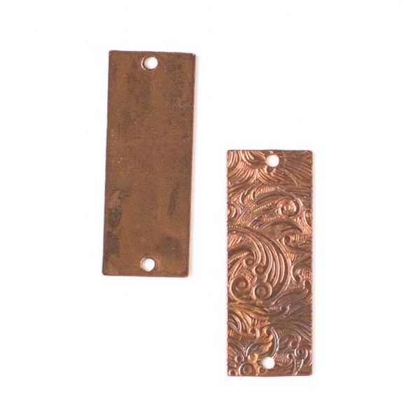 Copper Component - 13x32mm Rectangle Link with Stamped Flower Pattern