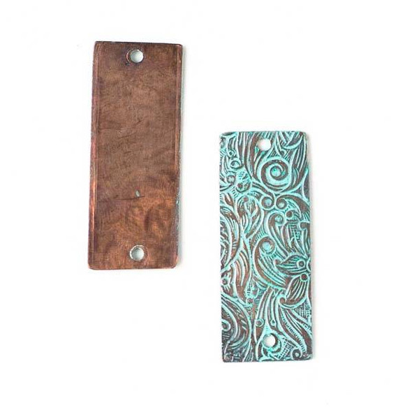 Copper Component - 13x32mm Green Patina Rectangle Link with Stamped Flower Pattern