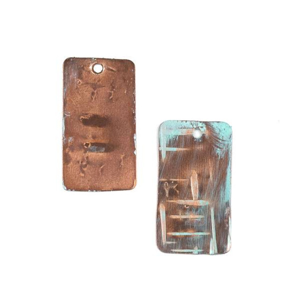 Copper Component 14x24mm Green Patina Rectangle Drop with Cross Hatched Etching