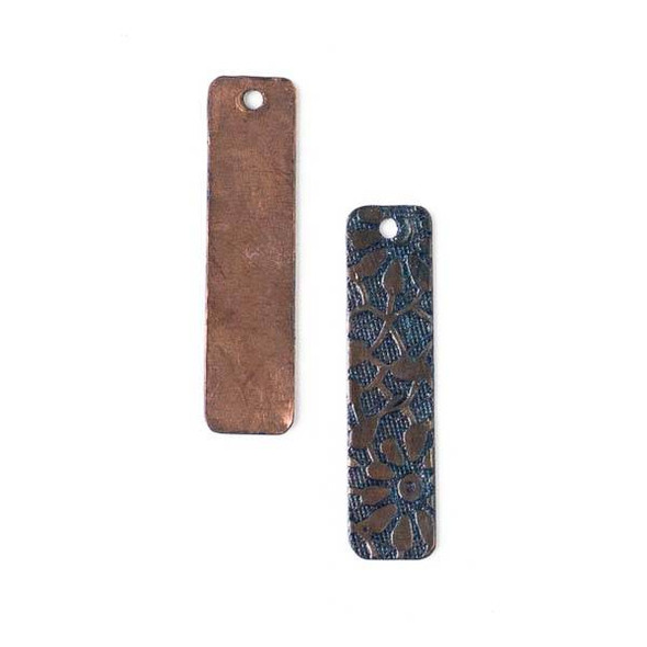 Copper Component - 7x31mm Navy Blue Patina Rectangle Drop with Stamped Daisy Pattern