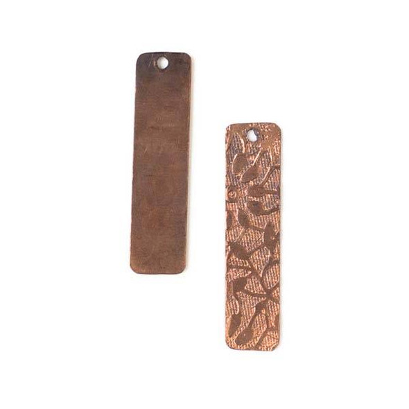 Copper Component - 7x32mm Rectangle Drop with Stamped Daisy Pattern