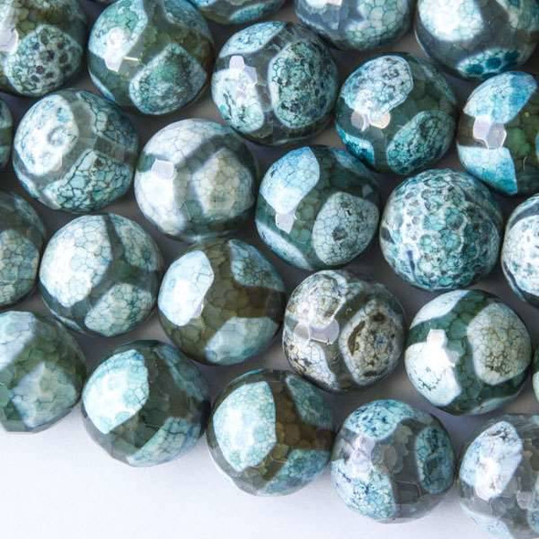 Cracked Agate 14mm Faceted Aqua Blue and Grey Giraffe Print Rounds - approx. 8 inch strand
