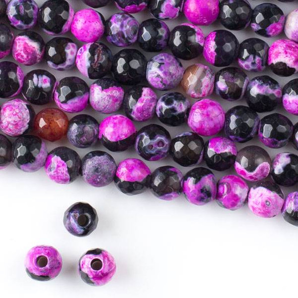 Large Hole Cracked Agate 8mm Faceted Round Beads in a Hot Pink and Black Mix with a 2.5mm large hole - approx. 8 inch strand