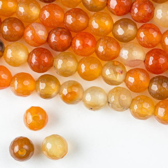 Large Hole Cracked Agate 10mm Faceted Rounds in an Orange and Yellow Mix with a 2.5mm large hole - approx. 8 inch strand