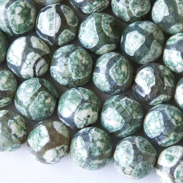 Cracked Agate 14mm Faceted Mint Green and Grey Giraffe Print Round Beads - 16 inch strand