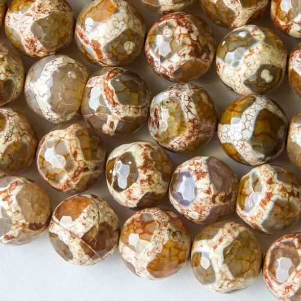 Cracked Agate 14mm Faceted Pink Rust Giraffe Print Rounds