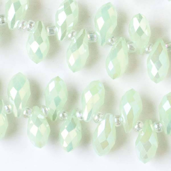 Crystal 6x12mm Opaque Mint Green Top Drilled Briolette Beads with an AB finish - 12 inch strand